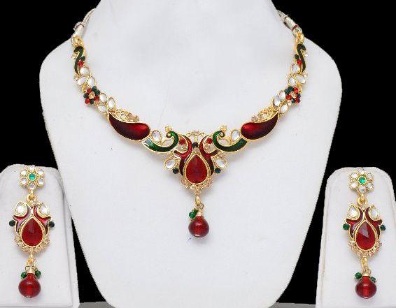 Peacock Indian Jewelry Set With Red  Green Stones  Meenakari