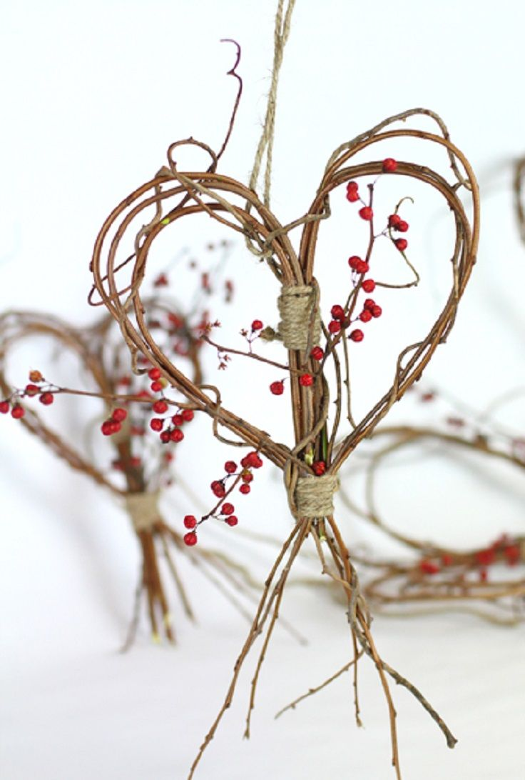 heart of natural rope and twigs - decorated with anything that comes up in the mind - advent week 2