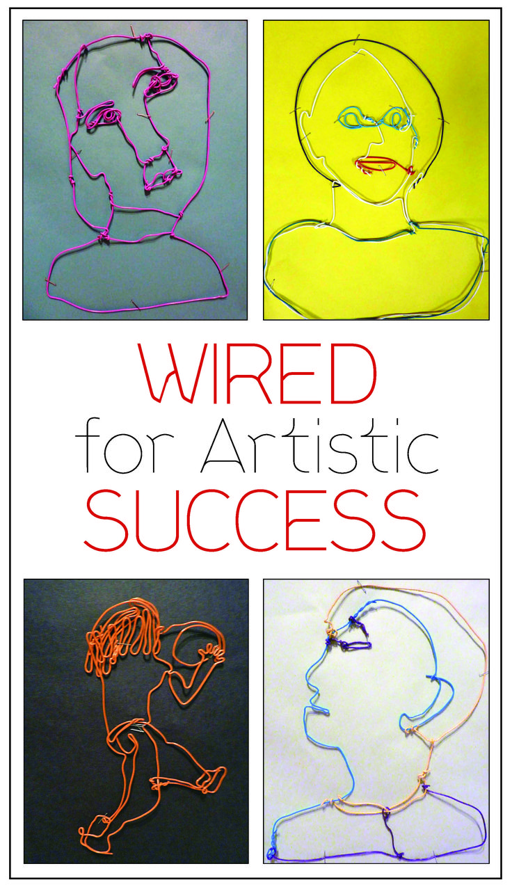 """Using a sculpture assignment modeled after the work of Alexander Calder, I have my students sketching, modeling and forming wire to represent the human form."" — Julia Tomaro, Middle School Art Teacher http://pubdev.ipaperus.com/ArtsandActivities/AAMay2015/?page=26"