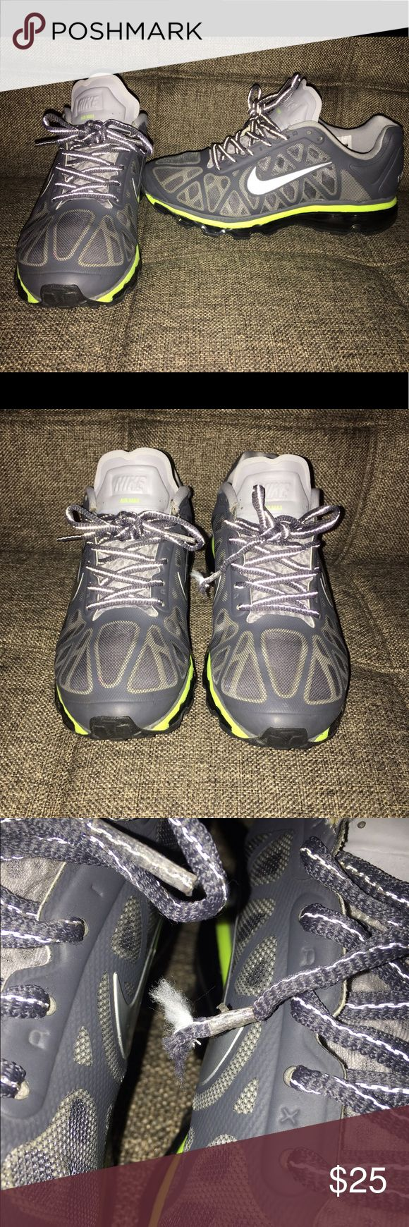 Nike Airmax Nike Airmax Grey/neon green size 6.5 youth 8.5 women, good used condition still has a lot of life left a few scuffs (shown in pics) and fraying of one end of shoe lace (also in pics) but overall good condition. Nike Shoes Sneakers