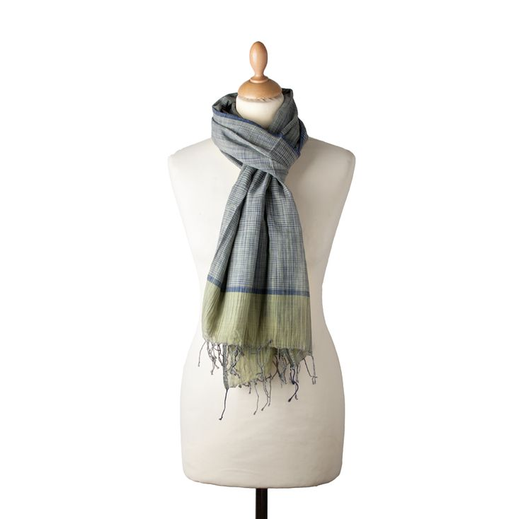 Handwoven cotton silk mix scarf with fringe detail from Poonam's House #cotton #silk #scarf #india buy online from Poonam's House