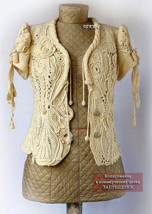 Irish crochet &: Жакет фриформ от Искры I adore Irish crochet and it's easier than it looks!