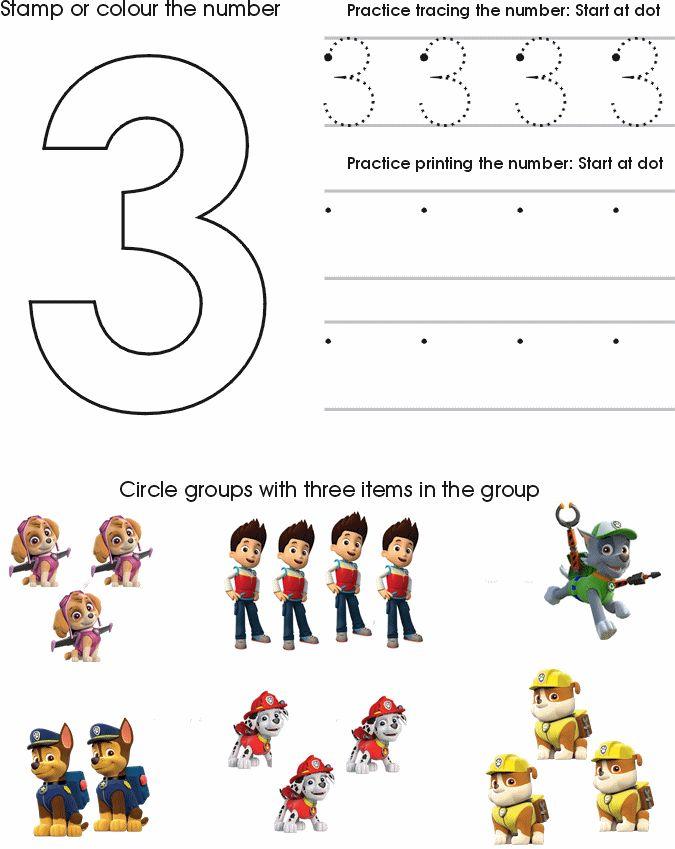 Paw Patrol Number Worksheet 3 : Homeschool : Pinterest : 3 ...