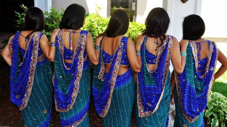 Bridesmaid sarees in peacock blues!