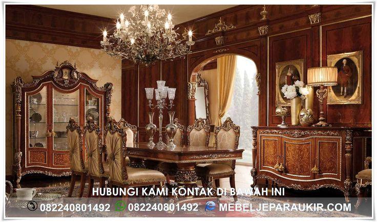 Set Meja Makan Mewah Master Klasik Eropa Ukiran – menjawab kebutuhan interior yang bernuansa mewah eropa dengan seni ukiran khas mebel Jepara yang lebih detail dan halus untuk ruang makan rumah anda.