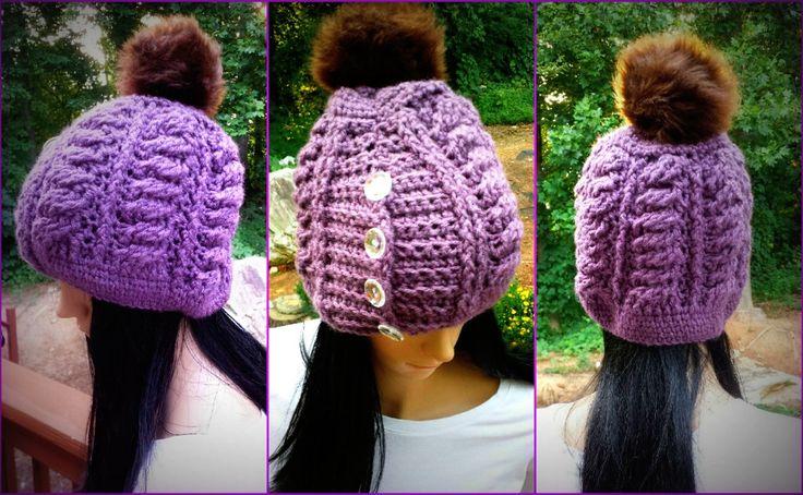 Mejores 12 imágenes de Crochet Cable Hat en Pinterest | Punto ...