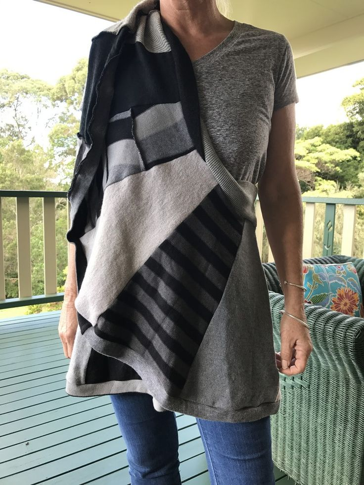 """Our newest range - a wrap which can be worn multiple ways and made from recycled jumpers.  Check out how to wear them on our web site under the """" Nuskool"""" tab!"""