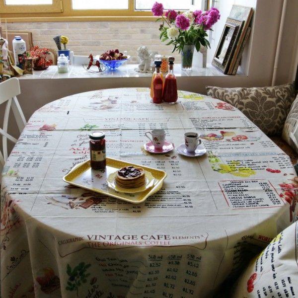 Льняная скатерть Винтажное кафе #tablecloth #меню