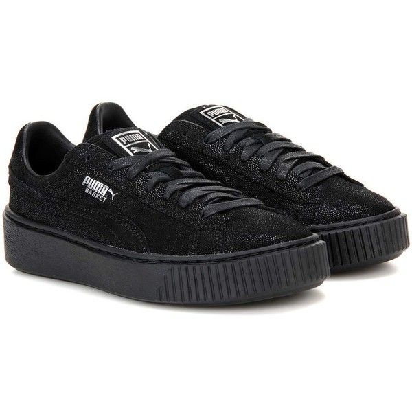 Puma Basket Platform Reset Suede Sneakers ($110) ❤ liked on Polyvore featuring shoes, sneakers, black, black trainers, suede sneakers, kohl shoes, puma footwear and puma sneakers