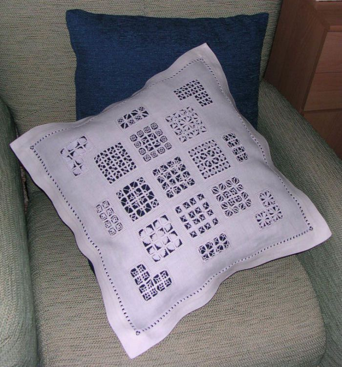Reticello sampler pillow ~ worked on linen with about 16 threads per cm