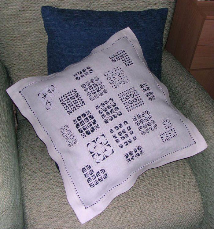 Reticello sampler pillow