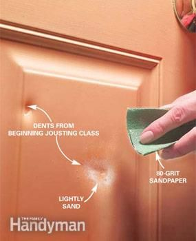 How to patch dents in metal doors -- not difficult.  Family Handyman site has some really good tutorials for all kinds of things.  #household #tip