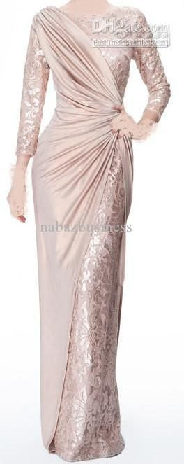 Wholesale Sexy Long Sleeves Chiffon Jewel Lace Pearl Pink Ruffle Evening Dresses Mother of the Bride Dress 339, Free shipping, $141.48/Piece | DHgate