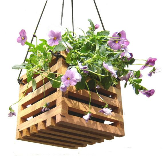 hanging planter basket from recycled wood garden decor. ., Gardens/