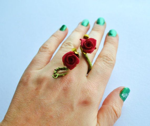 flower and vine ring thumb ring whimsical fairy by InMyFairyGarden