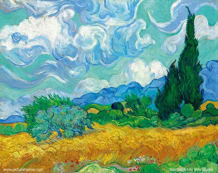 Les Blés Jaunes V. Van Gogh (Peinture réalisée lorsqu'il était interné à l'asile de Saint Remy de Provence)