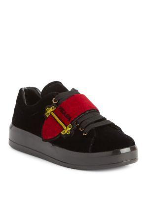 PRADA Velvet Buckle Sneakers. #prada