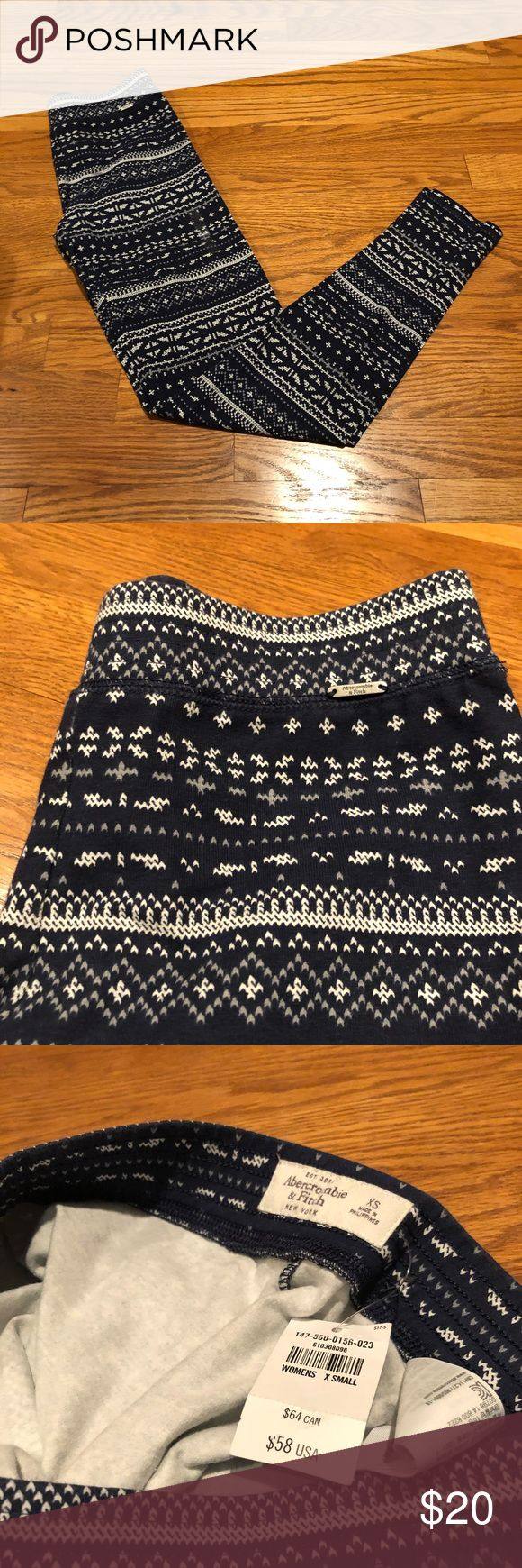 Abercrombie and Fitch Aztec Tribal Leggings Abercrombie and Fitch Aztec Tribal Leggings in blue and white. Women's size XS. Still has original tag and XS size sticker on it. Abercrombie & Fitch Pants Leggings