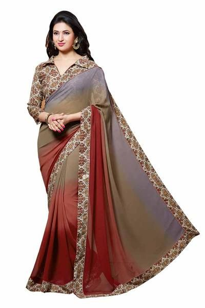 LadyIndia.com #Printed Sarees, Maroon & Grey Designer Printed Saree-ISH-4515, Printed Sarees, https://ladyindia.com/collections/ethnic-wear/products/maroon-grey-designer-printed-saree-ish-4515