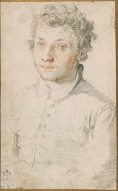 Federico Zuccaro (Federico Zuccari), c.1540/1541-1609, Italian, Half-Length Portrait of a Young Man (Taddeo Zuccaro?), Turned Slightly to the Left, 1566 or earlier.  Black and red chalk on paper, 19.4 x 12.1 cm.  Morgan Library & Museum, New York.  Mannerism.