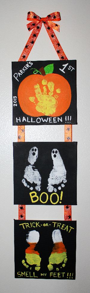 """""""Mommy & Me"""" Halloween project my son Parker and I made of his hand and feet prints. Great keepsake for years to come to remember baby's 1st Halloween and how small they once were. So fun!"""