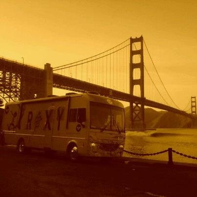 The Roxy Bus travels to northern California across the Gold Gate Bridge