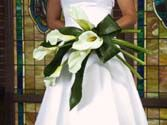 A simply elegant favorite, calla lily wedding bouquet, hand-tied in a presentation style
