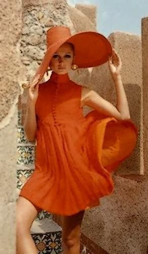1967 gorgeous hat orange fashion