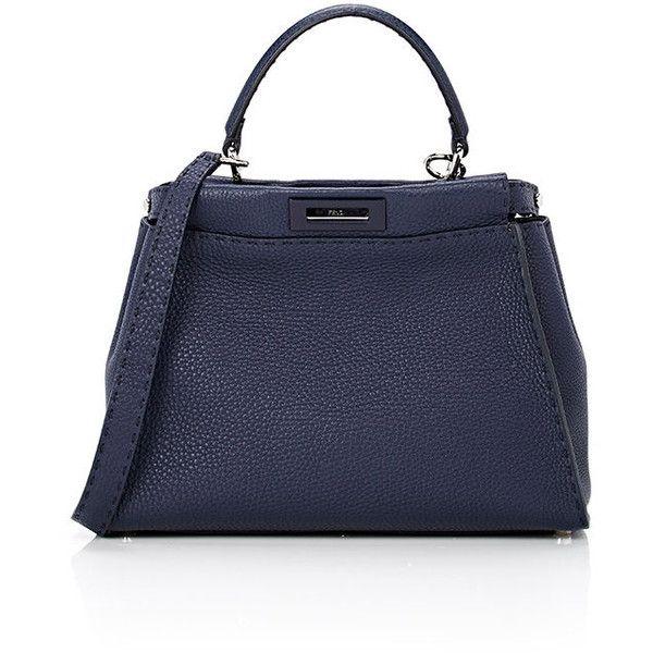 Fendi Women's Peekaboo Selleria Satchel ($4,500) ❤ liked on Polyvore featuring bags, handbags, blue, handbag satchel, studded satchel, fendi purses, blue satchel and studded purse
