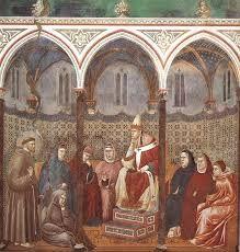 GIOTTO, Storie di San Francesco, Basilica di Assisi, predica davanti a Onorio III