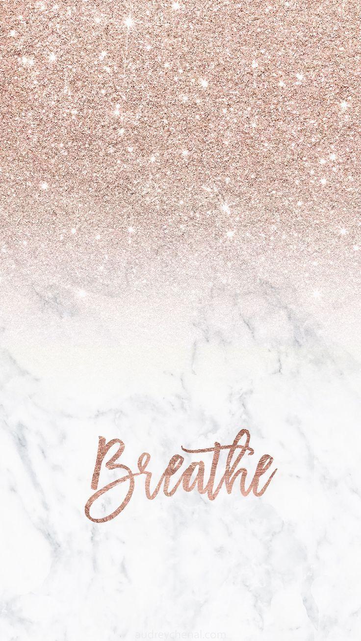 Rose Gold Glitter Ombre weißer Marmor atmen Typografie Iphone # Wallpaper Hintergrund