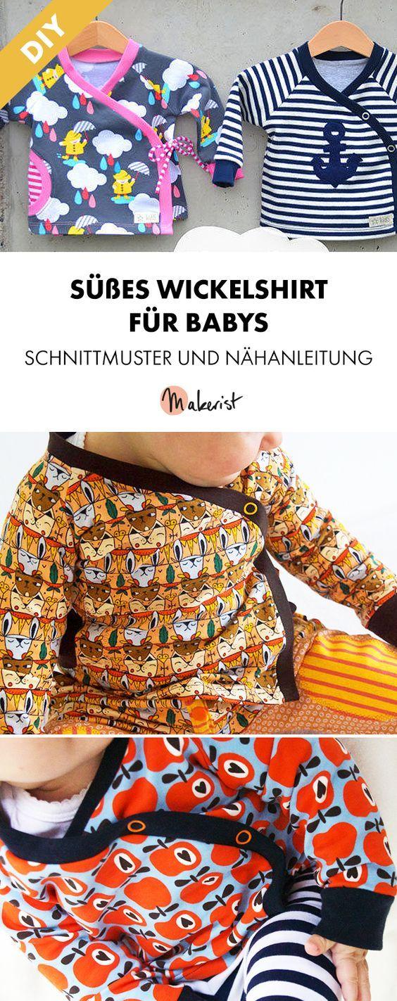Gewickeltes Jersey-Shirt für Babys – Nähanleitung und Schnittmuster via Makeri…