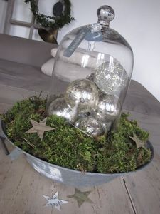 Cloche with mercury glass orbs...what a great centerpiece for Christmas.