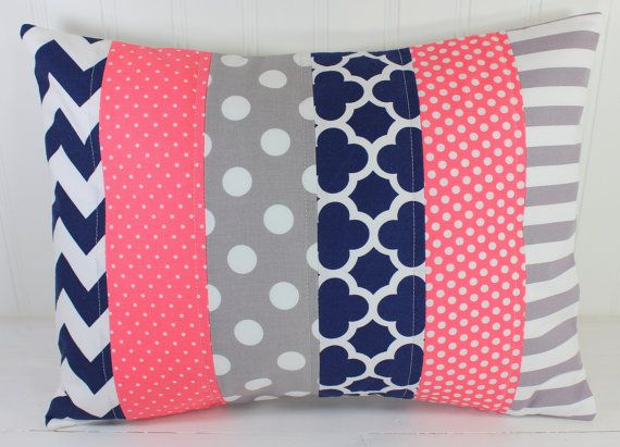 Nursery Pillow Cover, Throw Pillow Cover, Girl Nursery Decor, Nautical Nursery Decor, Coral Pink, Navy Blue, Gray, Grey, 12 x 16 Inches