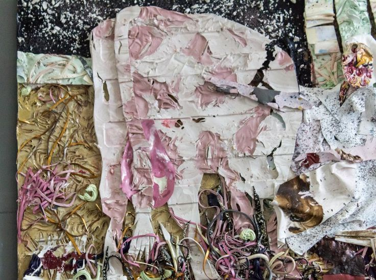 Milking! - collage/painting constructed out of acrylic/household paint skins - Riin Kaljurand