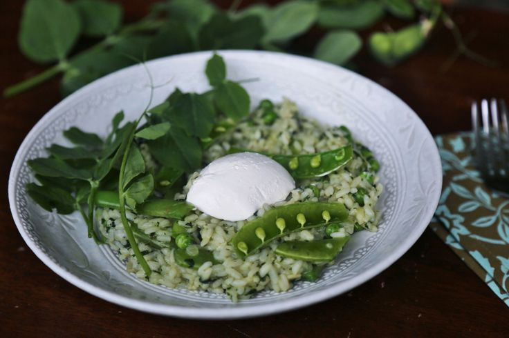Spring pea and mint risotto - Little Vegan Bear