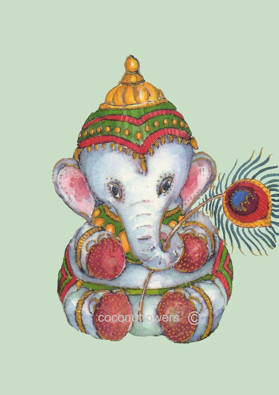 Ganesh  Watercolor Art  A4 11.7x8.3in  Art Print by Coconuttowers, $20.00