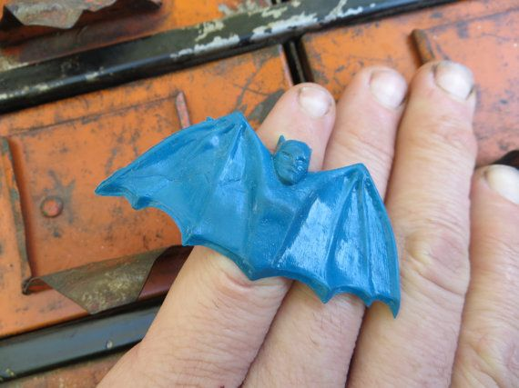 1966 Batman Toy Ring: Rare BLUE Variant -- Rubber Kids Superhero TV Show Gumball Vending Machine Tie-In