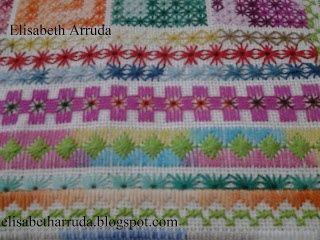 bordado em tecido de linho usando diversos pontos