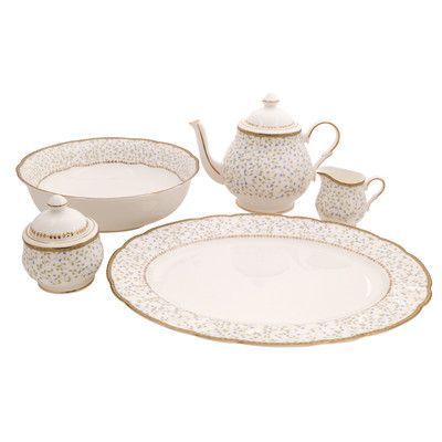 Shinepukur Ceramics USA, Inc. Flores Bone China Traditional Serving 5 Piece Dinnerware Set