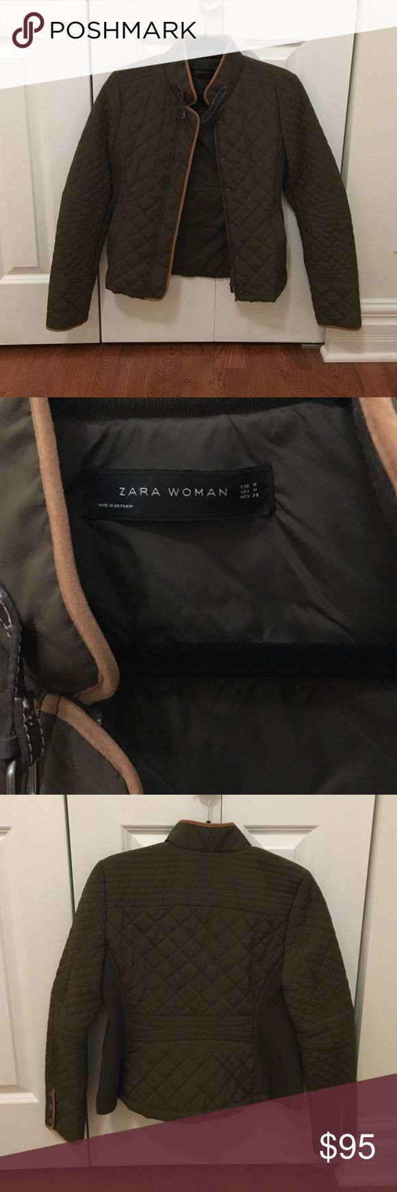 Zara Jacket Women's Zara quilted coat. Olive green color with brown trim. This coat has barely been worn and is in great condition! Zara Jackets & Coats