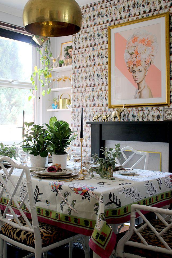 Boho Glam Table Setting With Botanical And Animal Prints