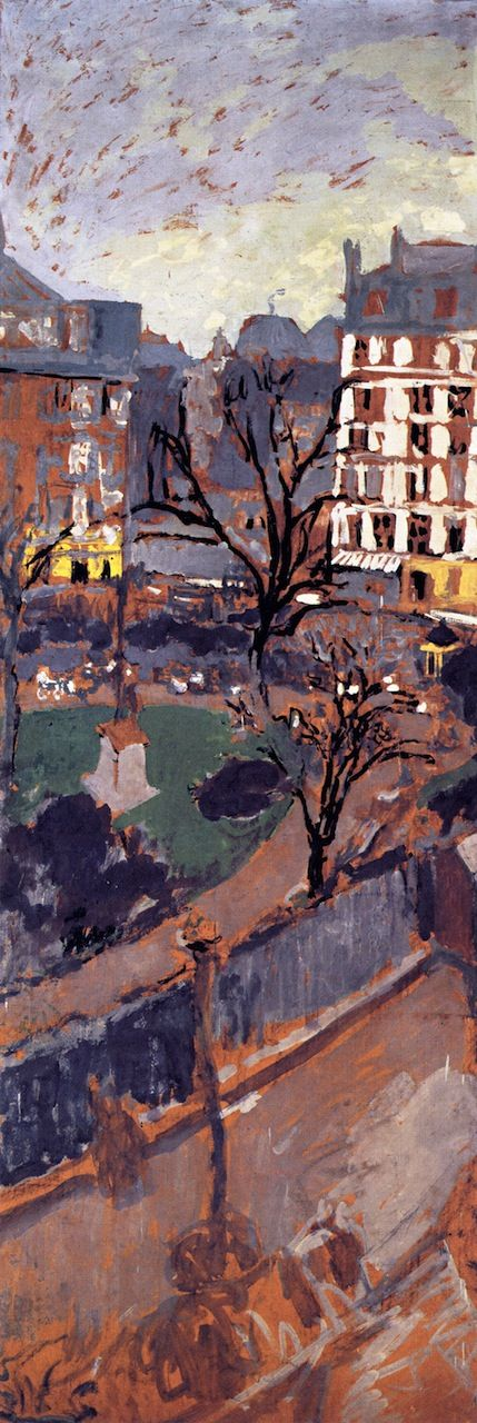 "jean-édouard vuillard(1868–1940), study for ""place vintimille"", 1910. distemper on paper mounted on canvas, 196 x 69 cm. private collection http://www.the-athenaeum.org/art/detail.php?ID=54672"