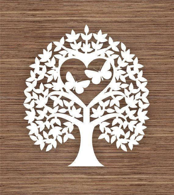 Butterfly, Leaf and Heart Tree PDF SVG Instant Download Digital Papercut Template