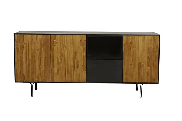 Brooklyn Buffet in Charcoal/Natural #globewest #furniture #dining #buffet #style #contemporary