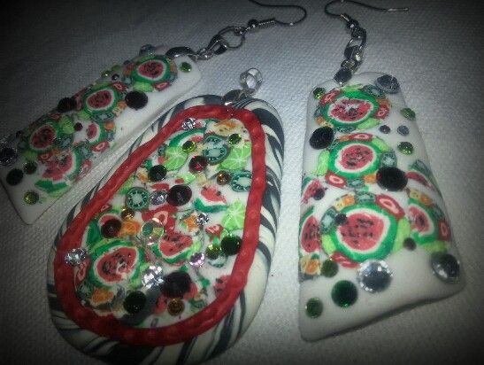 Fruity canes polymer clay pendant and earrings by Caren