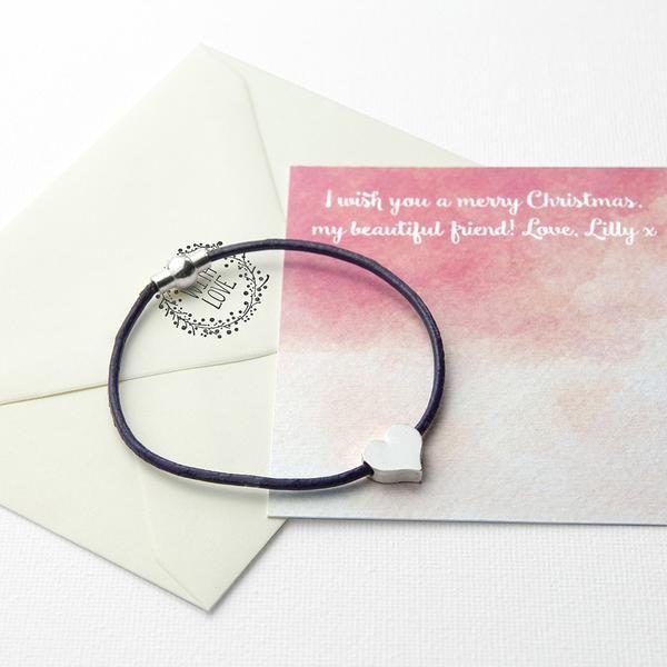 Heart Friendship Personalised Bracelet Multicoloured (Purple Shown)