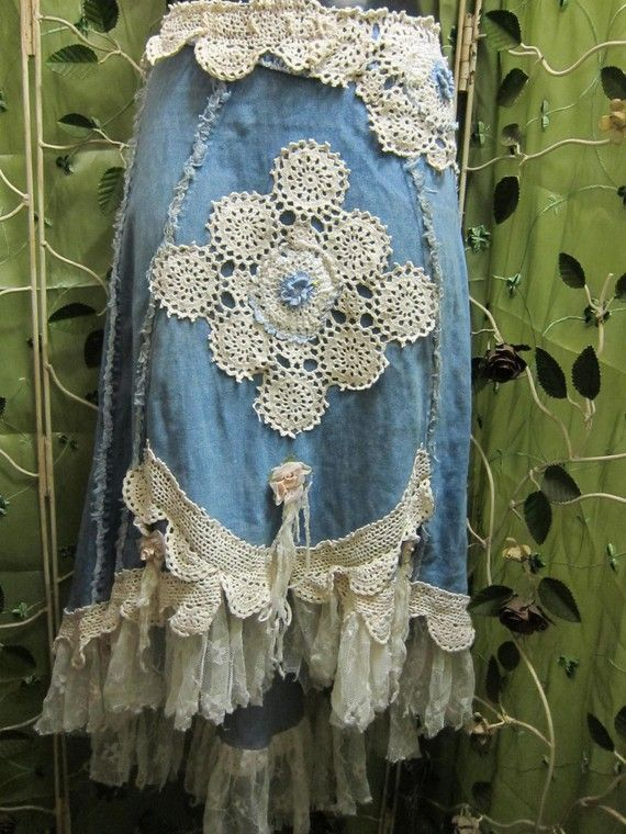sewing + crochet - bohemian denim and lace skirt...upcycled and unique - inspiration - ragge edges and crochet lace