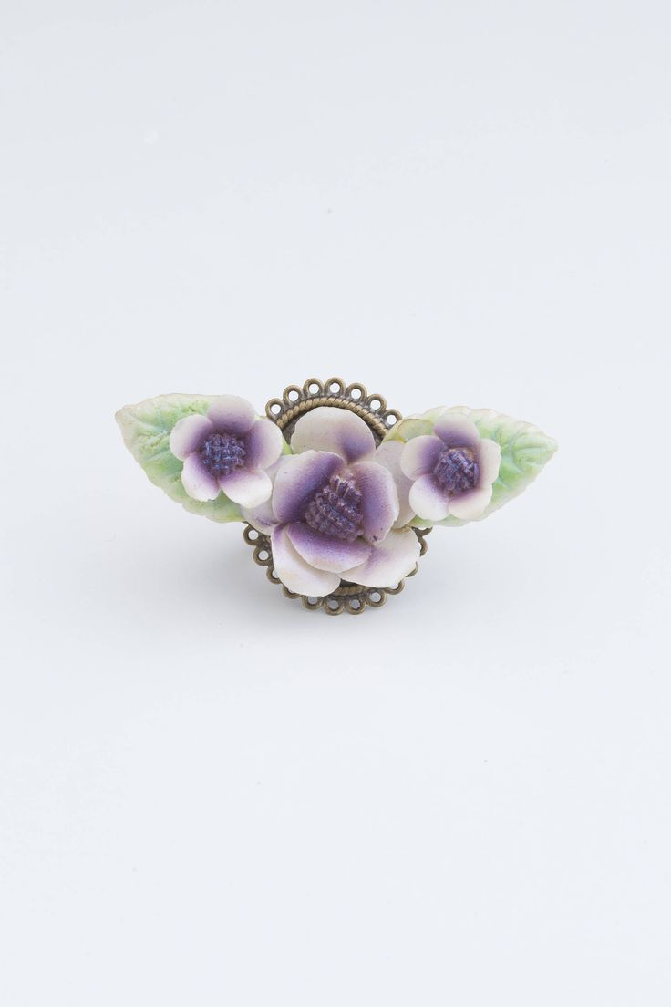 Romantic Ring | Vintage Porcelain Flower Jewellery | Upcycled Artisan Handmade | Valentino Inspired | Purple Flower Ring by GhostandLolaBoutique on Etsy