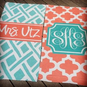 Monogrammed beach towels. This site is all things personalized!